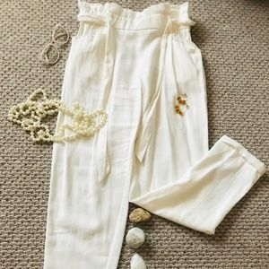 Women's Baggy Paper Bag Waist Pants with Pockets
